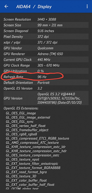 Note 20 Ultra has a secret 96hz display refresh rate - Here is how to enable it.-screenshot_20200822-174127_aida64.jpg