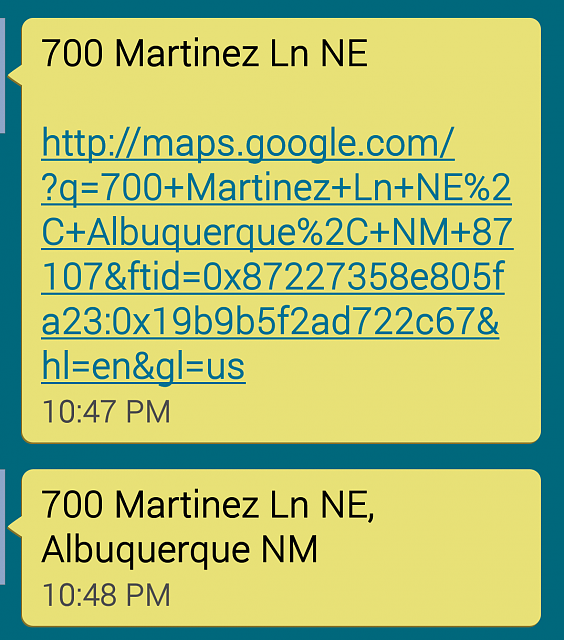 Is there a wayI can make text messages with an address send me to maps when I click on the address?-4853_790_87.png