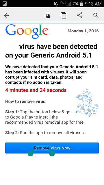 This looks like a scam virus warning to me - Android Forums at