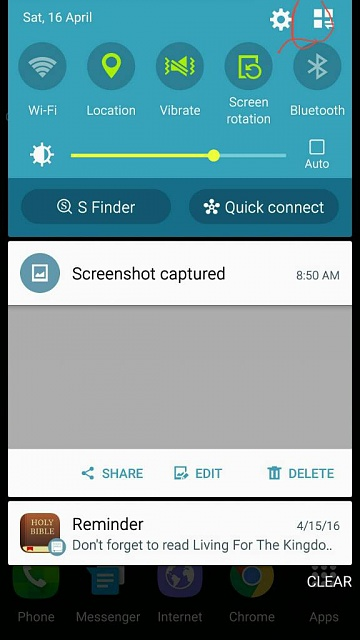 can not see any action buttons on note 4 in notification tab-1460811504373.jpg