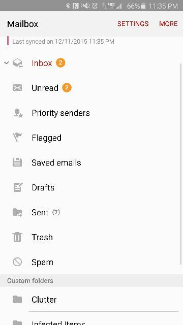 How to display folders in Outlook email on Samsung Galaxy Note 5-7046.jpg