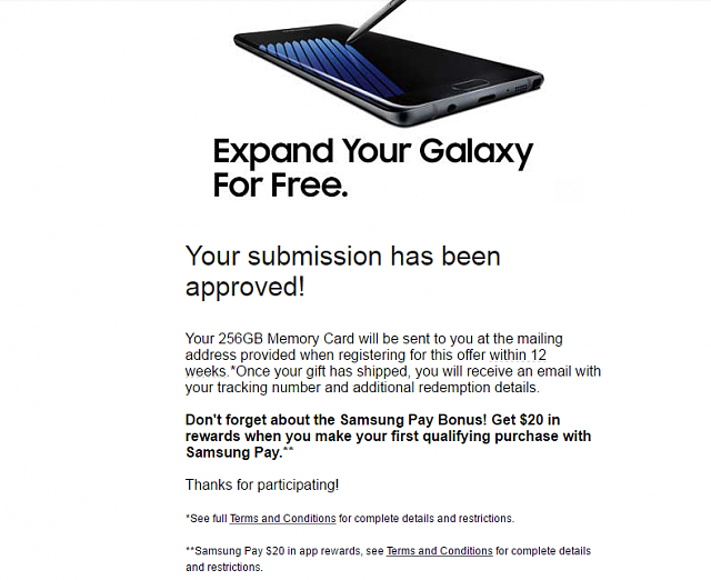 Did you submit for your Pre-Order Bonus (256 GB SD / Gear Fit 2 / Netflix)? Post Here!-note7sdapproved.png