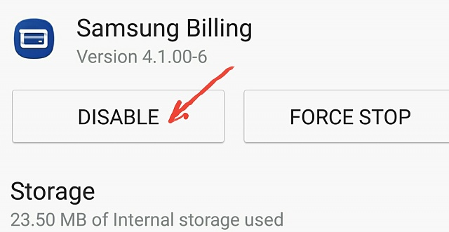 samsung billing app uninstall