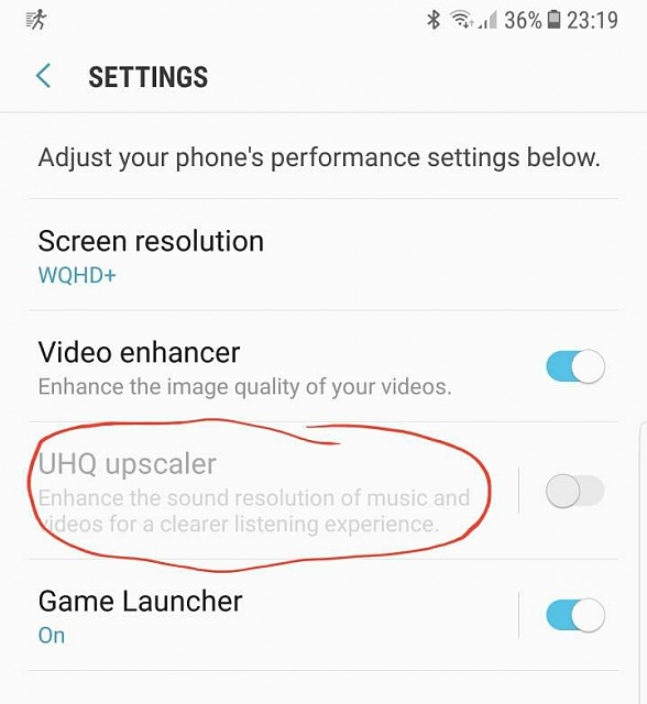 UHQ upscale disabled and no auto performance mode - Android