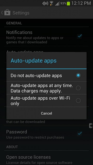 how do i stop automatic updates on my samsung tablet