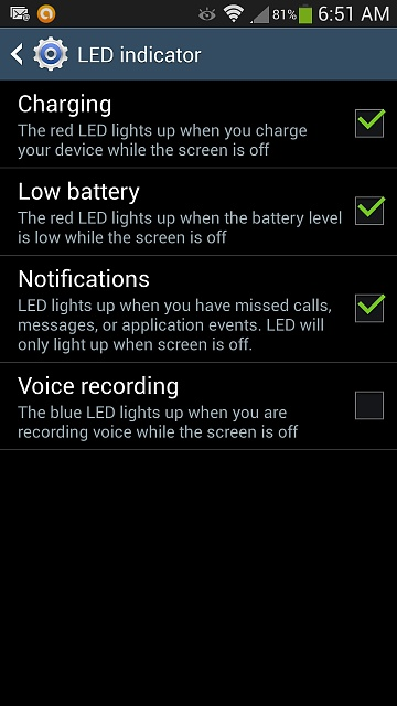 Samsung Galaxy S3 Notification Light