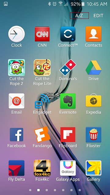 samsung galaxy s2 arrange apps alphabetically