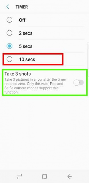 In my Samsung galaxy s8 why can't i find the option to enable taking 3 pictures in a row in timer?-galaxy_s8_camera_timer_3.jpg