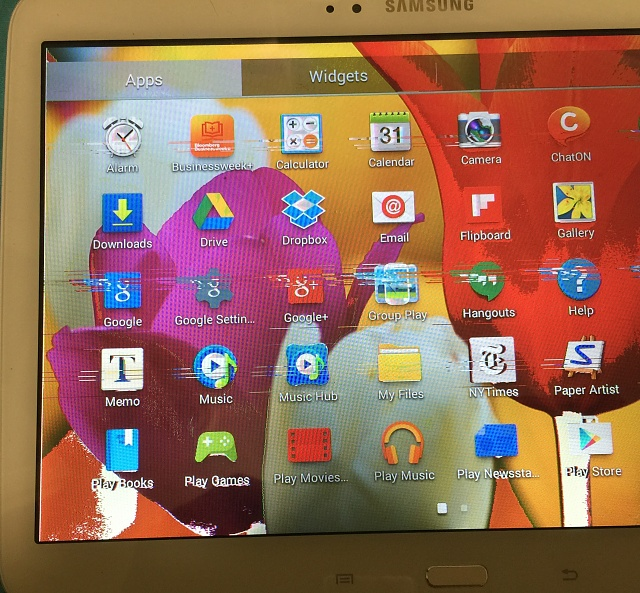 Samsung Galaxy Tab 2 10.1 screen colors are all messed up - like negative. Should I get the screen replaced or is this something I can fix?-loose-lcd-cable.jpg