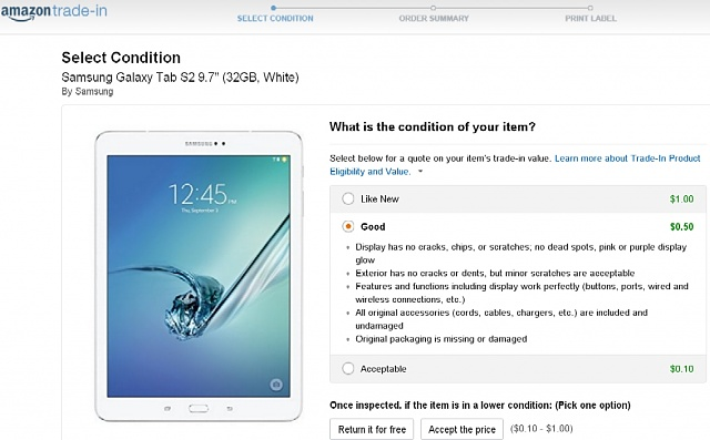 Amazon now offer 50 cents to trade in white Galaxy Tab S2 9.7 in good condition. Should I accept it?-amazontradeins2.jpg