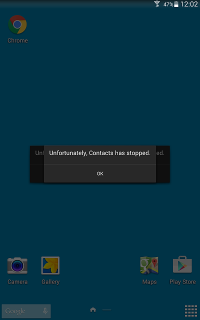 "Brand New Galaxy Tab 4 keeps App crashing ""Unfortunately <App> has stopped.""-screenshot_2015-09-20-12-02-51.png"