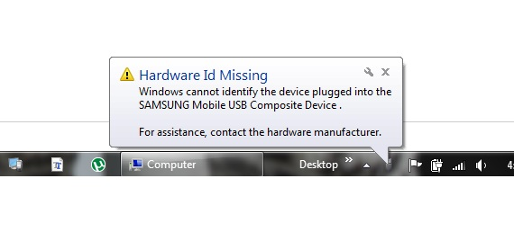 Hardware ID missing - windows cannot identify the device plugged in