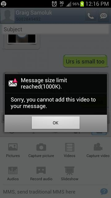 Sending a video in a text message - Android Forums at ...