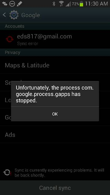 Anyone else having a Google calendar sync failure?-uploadfromtaptalk1369582548503.jpg