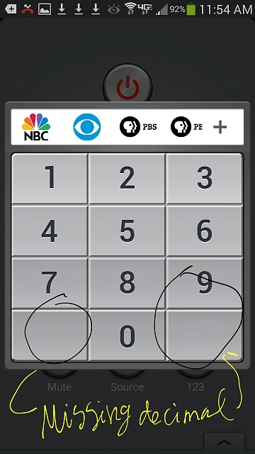 Watchon App Missing Decimal Point On Remote Keypad Android Forums At Androidcentral Com