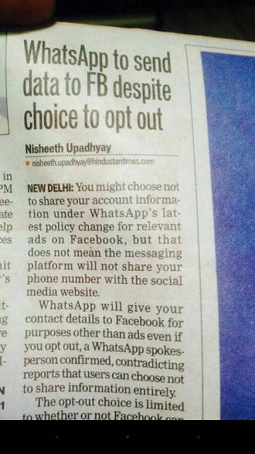 Whatsapp are now sharing details and pushing ads-hindustani-times.jpg